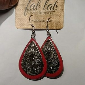 Jewelry - FANTASTIC RED AND SILVER 'BANDANA EARRINGS'